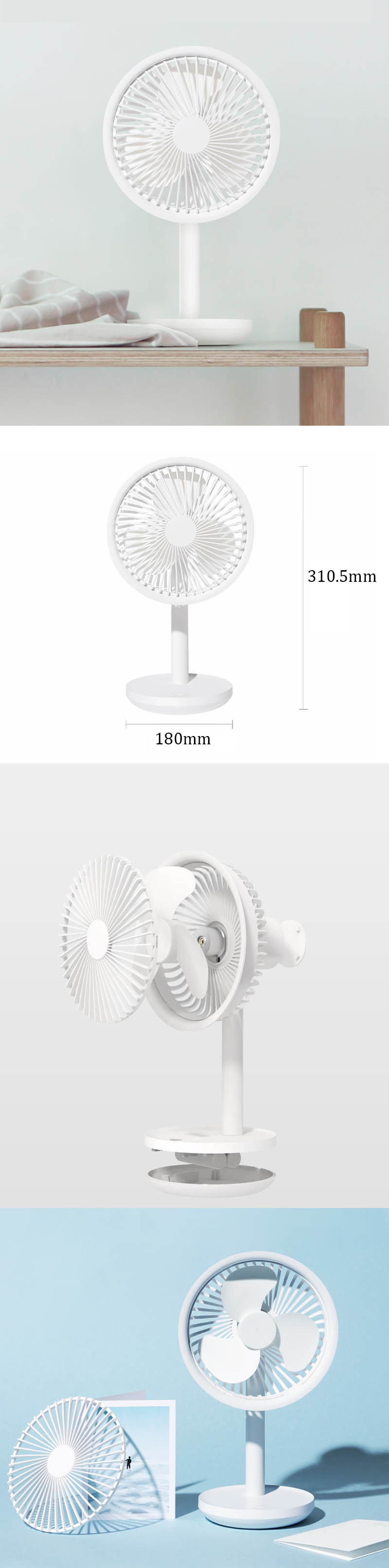 Xiaomi SOLOVE 5W USB Desktop Table Fan 3 Modes Wind Speed Cooling Oscillating Fan