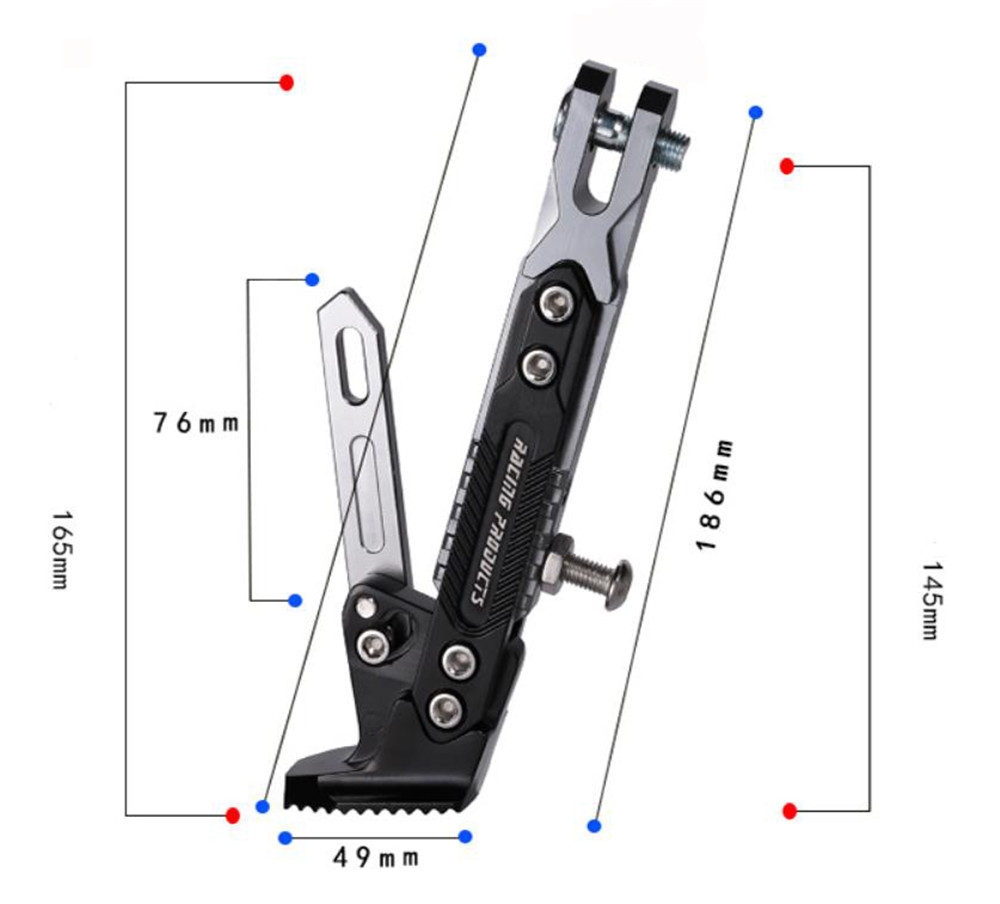 CNC Aluminum Alloy Adjustable Kickstand Foot Side Stand for Motorcycle 500KG
