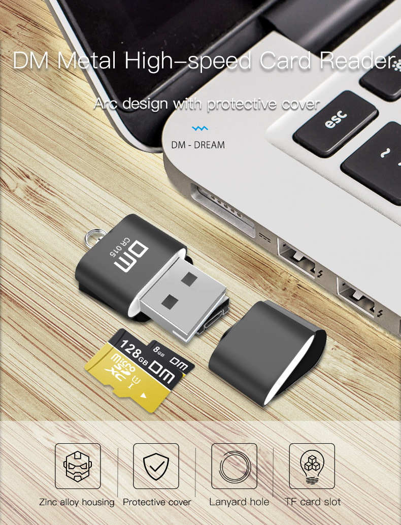 DM CR015 USB 2.0 Aluminum Alloy Mini TF Card Reader for Computer / Car