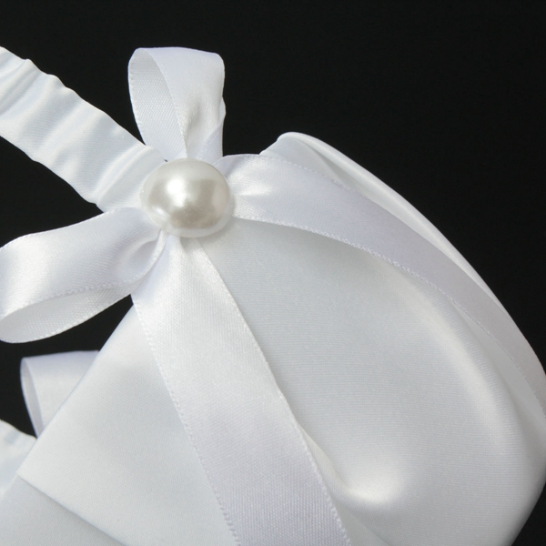 Wedding Ceremony Partty Pearl White Single Flower Baskets Marriage Satin Bowknot Supplies