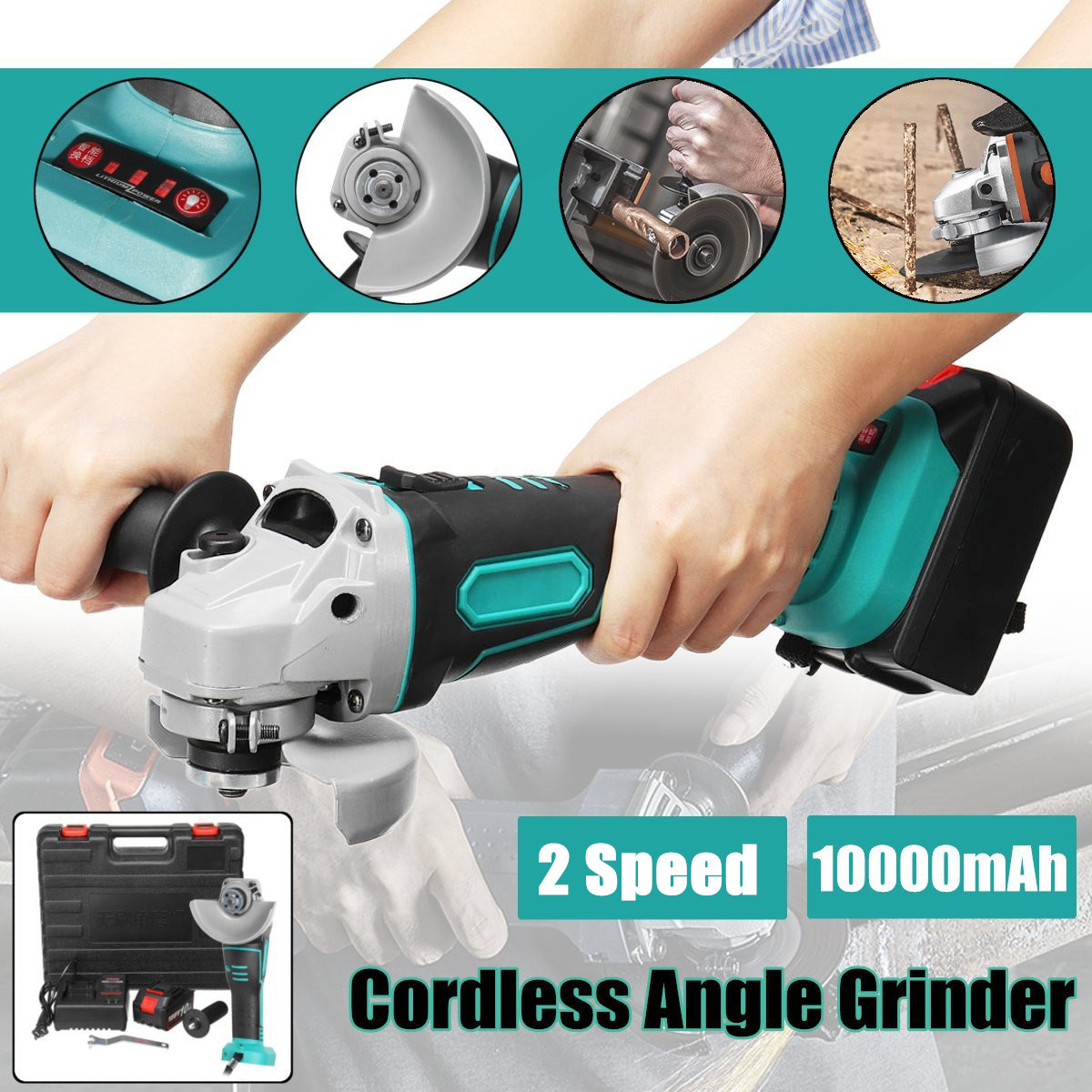 21V Cordless Angle Grinder 10000mAh Electric Angle Grinding Tools Power Grinder 8000RPM