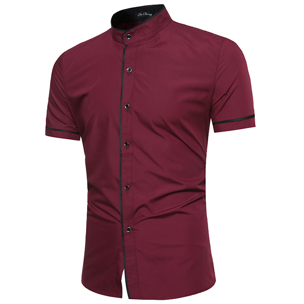 Mens Fashion Stitching Color Summer Slim Fit Stand Collar Short Sleeve Casual Shirts
