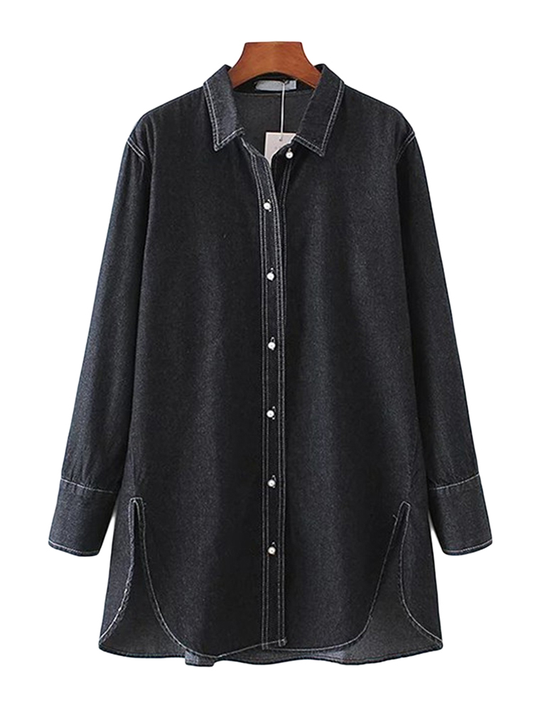 Casual Women Furcal Hem Button Turn Down Collar Denim Blouse
