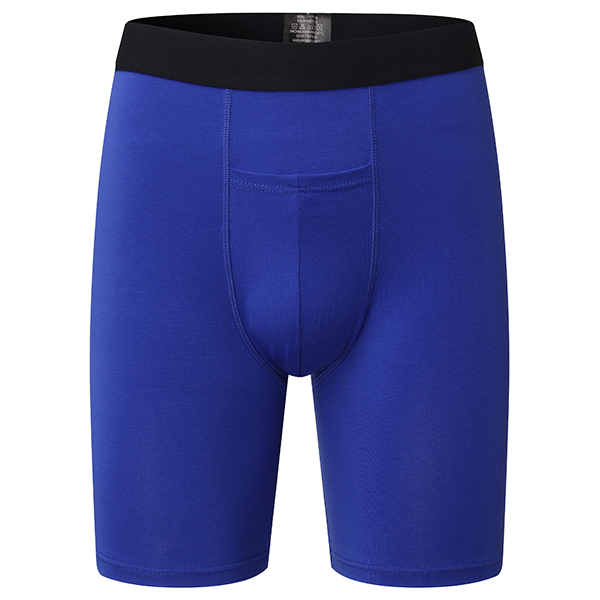 Mens Casual Cotton Long Underwear Solid Color Pouch Breathable Boxers