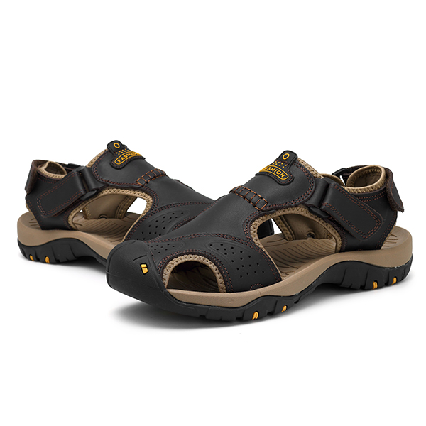 Men Anti Collision Toe Comfy Casual Leather Sandals
