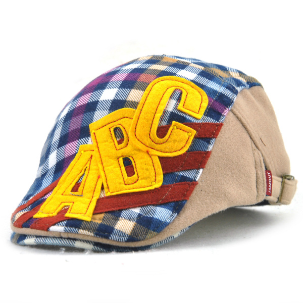 Children Boys Girls Cotton Cute Berets Hat Plaid Letter Buckle Adjustable Hat Cap Kids Flat Hat
