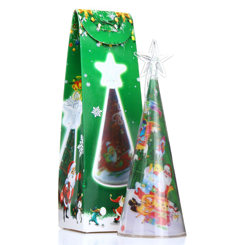 Christmas Party Home Decoration 3D Mini Colorful LED Light Lamp Tree For Kids Children Gift Toys