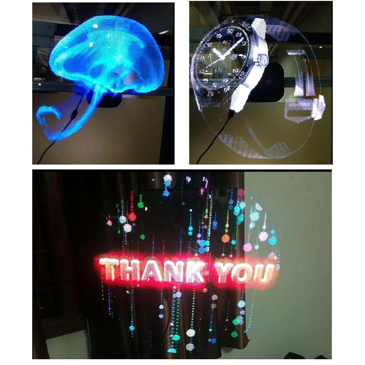 Full Naked Eye 3D Holographic Hologram Graphics LED Fan Advertising Display