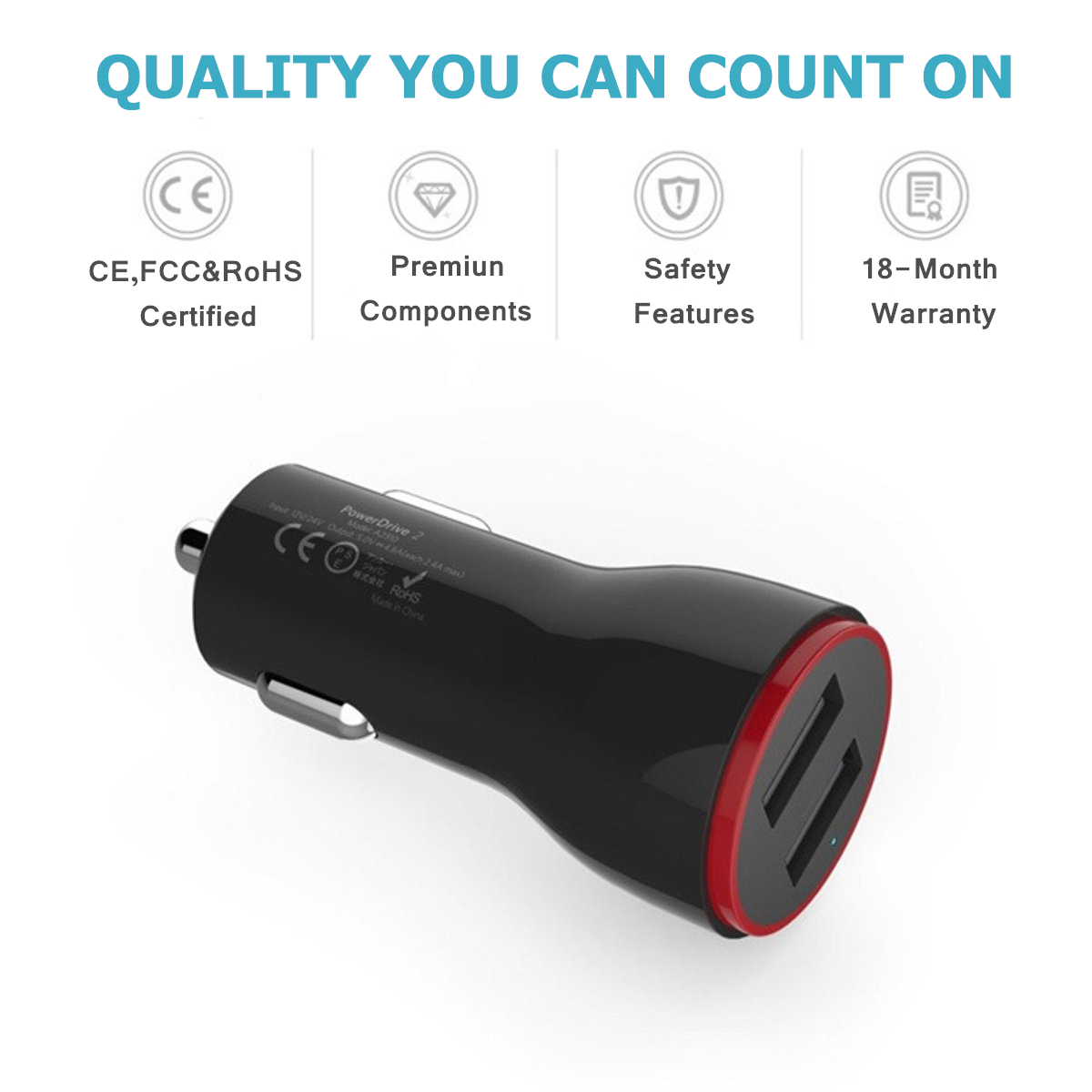 Universal 12V Dual USB Car Charger Fast charging for iPhone Samsung