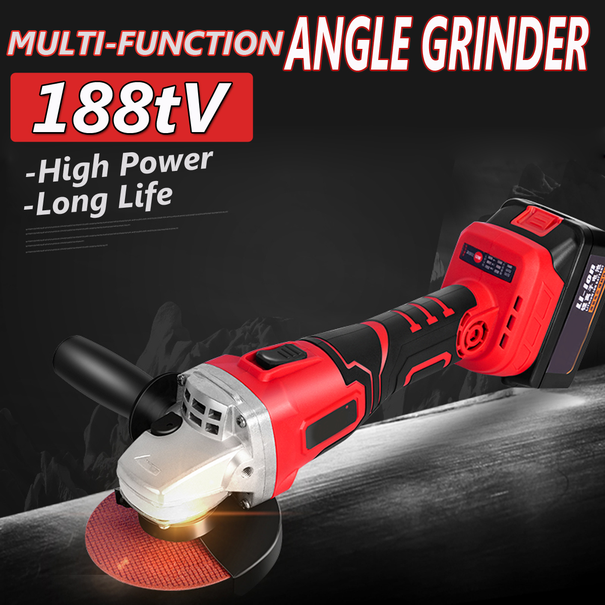 800W 42V Cordless Electric Angle Grinder Angle Grinding Machine Power Cutting Tool Set