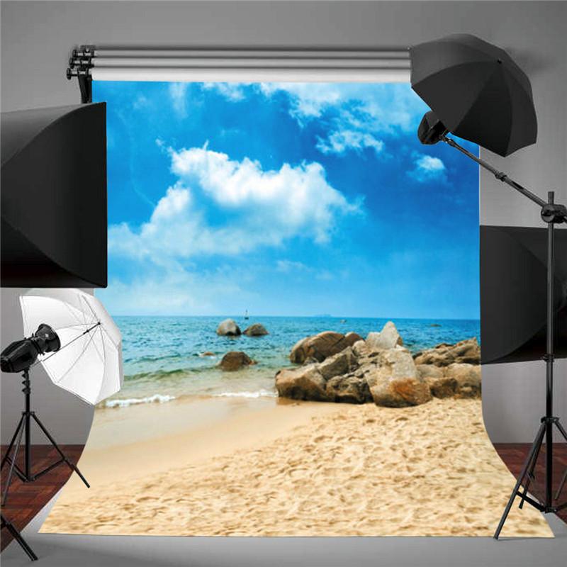 5X7FT Blue Sky Beach Sea Photography Backdrop Studio Vinyl Photo Background Prop