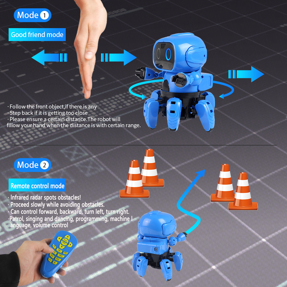 Upgraded MoFun-963 DIY 6-Legged RC Robot Infrared Obstacle Avoidance Gesture Control Programmable With Transmitter