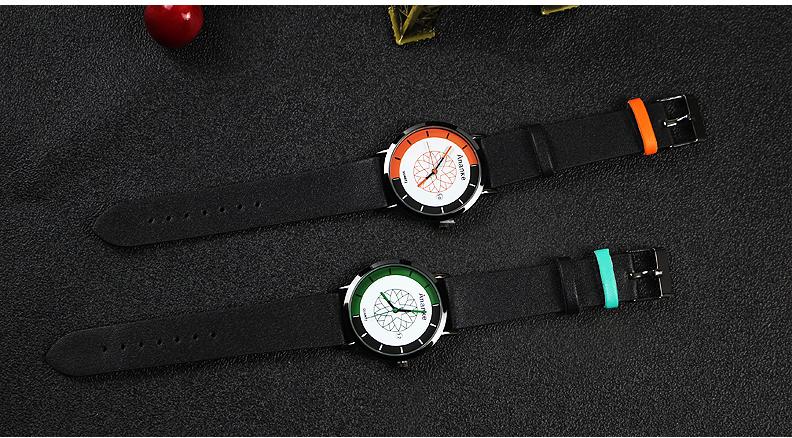 ANANKE AN03 Calendar Casual Style Leather Strap Quartz Watch