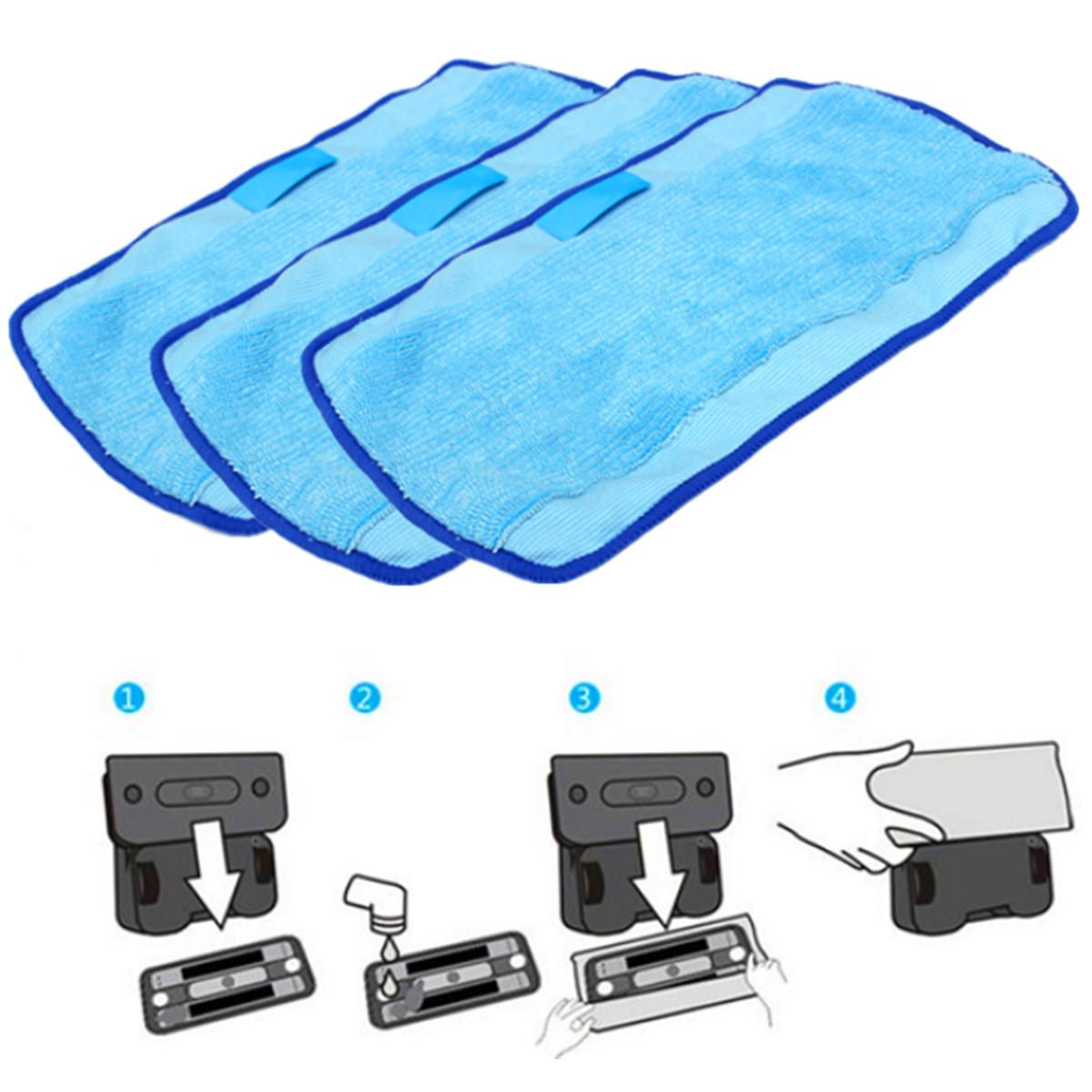 3Pcs Microfiber Mopping Cloths Spare Part for iRobot Braava 380t 320 Mint 4200 5200 Robot