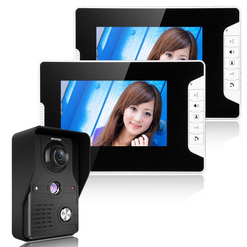 ENNIO SY813MK12 7 Inch TFT LCD Video Door Phone Doorbell Intercom Kit 1 Camera 2 Monitor Night Vision