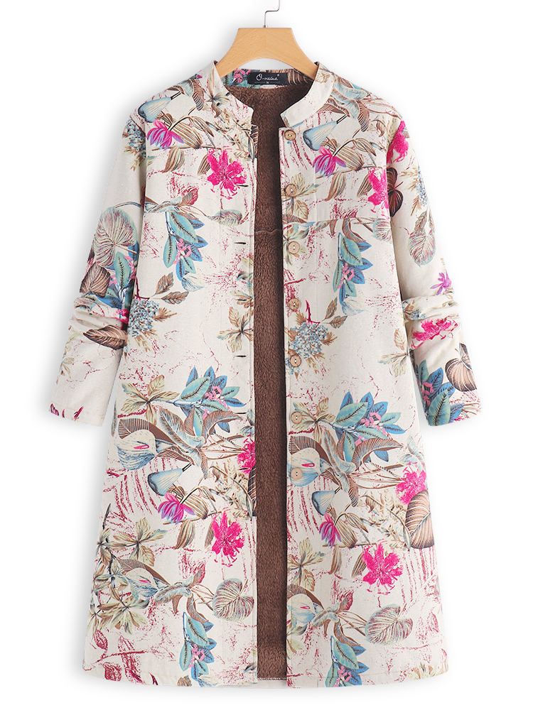 Vintage Leaf Print Long Sleeve Button Long Coats for Women