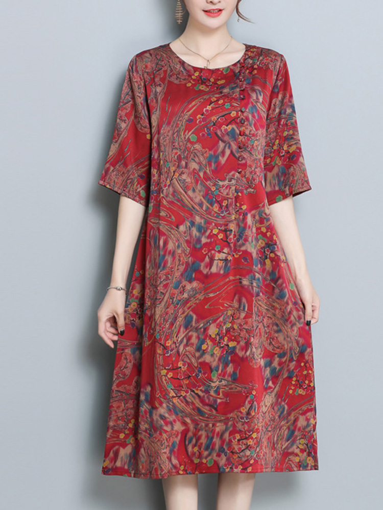 Women Ethnic Floral Print Half Sleeve Dress