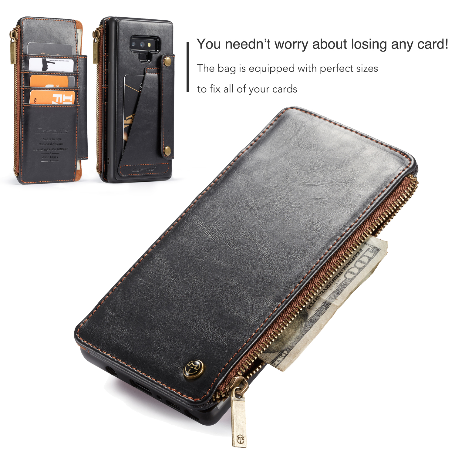 Caseme Vintage Detachable Wallet Card Slots Protective Case For Samsung Galaxy Note 9