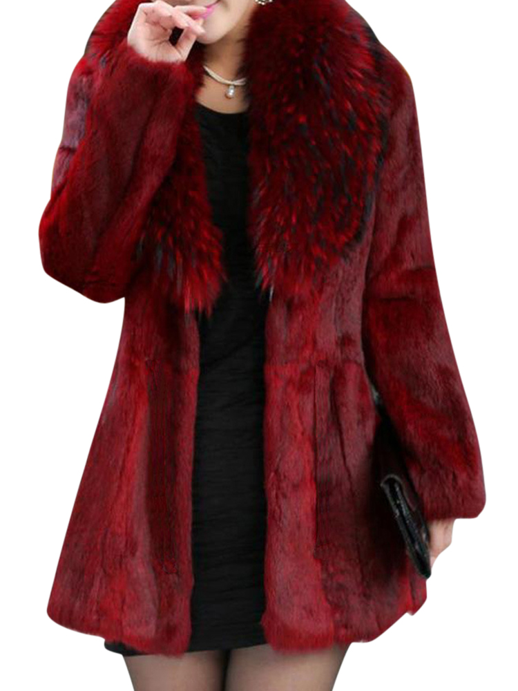 Women Long Sleeve Faux Fur Coat