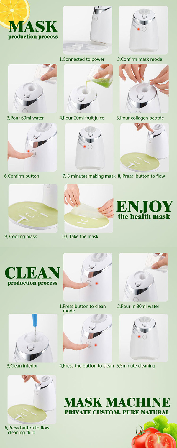 LuckyFine DIY Face Mask Machine Automatic Fruit Facial Mask Maker Natural Vegetable Mask With Collagen Pill