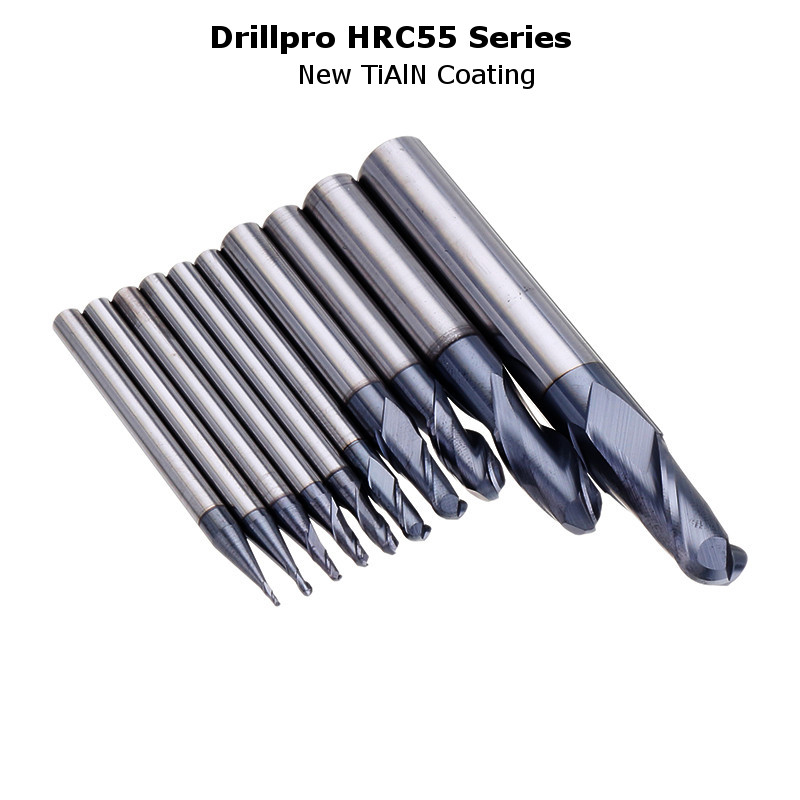 Drillpro R0.5-R5mm Ball Nose Tungsten Carbide End Mill Cutter HRC55 TiAlN Coating End Milling Cutter CNC Tool