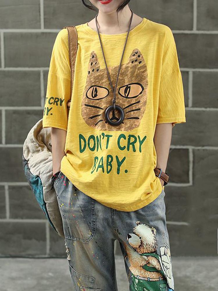 Women Cartoon Cat Print Short Sleeves T-shirts