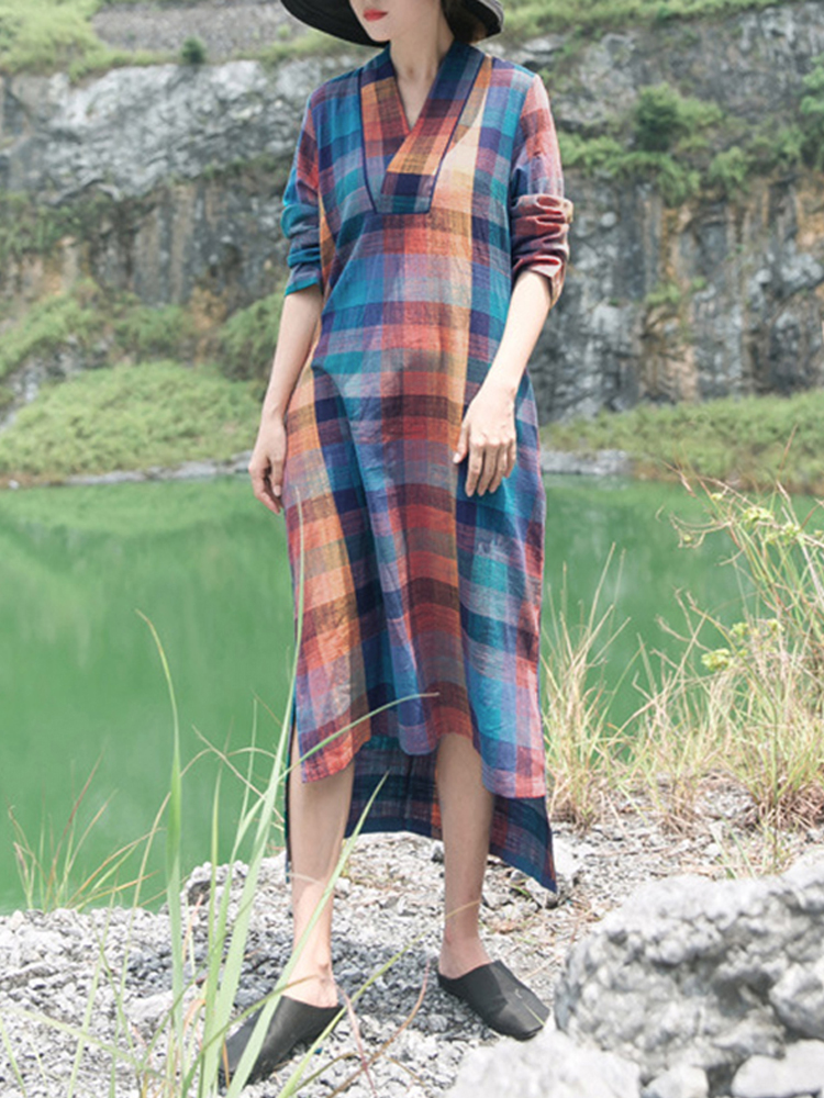 Women Plaid V-neck Long Sleeve Vintage Maxi Dress