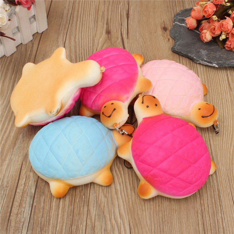 13cm Soft Kawaii Cute little Turtle Phone Bread Bun Squishy Charms With Rope Random Color