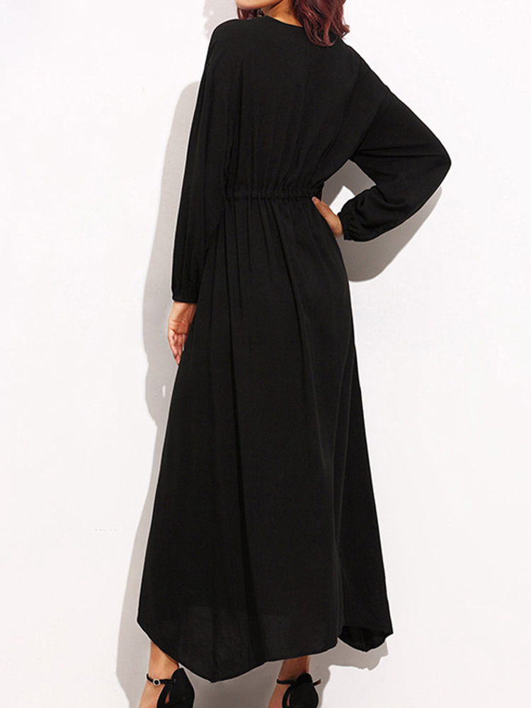 S-5XL Sexy Women Black Embroidery Long Maxi Dresses