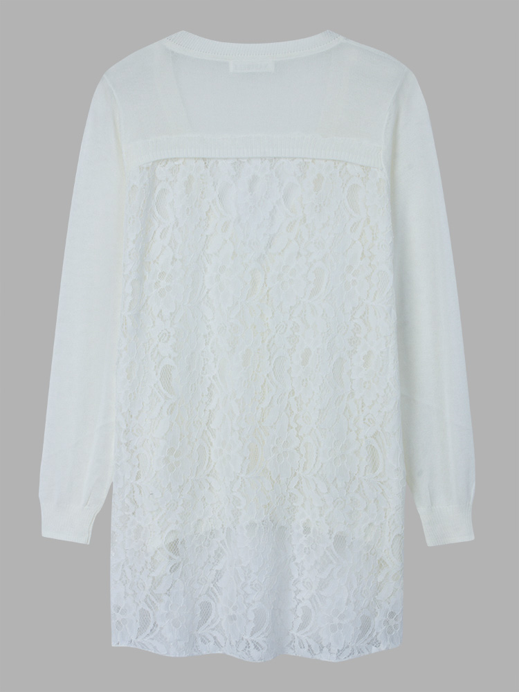 Women Lace Fiberflax Long Sleeve Loose Sweater
