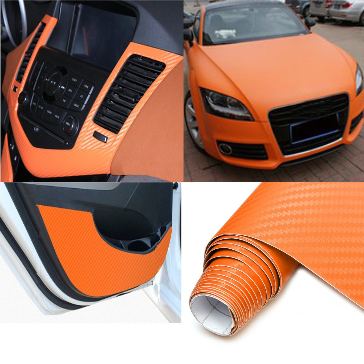 2Mx50CM DIY Gloss 3D Carbon Fiber Vinyl Wrap Roll Film Sticker 8 Colors for Car Vehicle