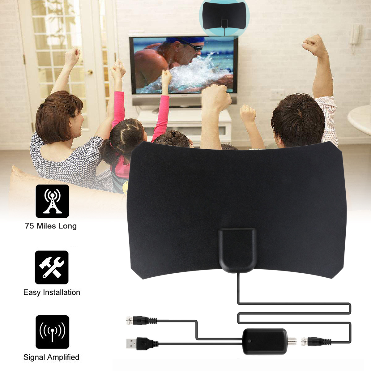 Indoor Digital HDTV TV Antenna Aerial Amplified 75 Mile Range VHF UHF