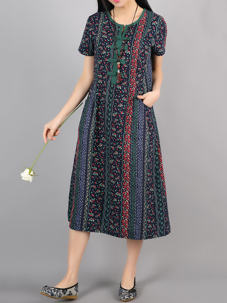 Folk Style Women Short Sleeve Frog Button Double Pockets Printed Dresses