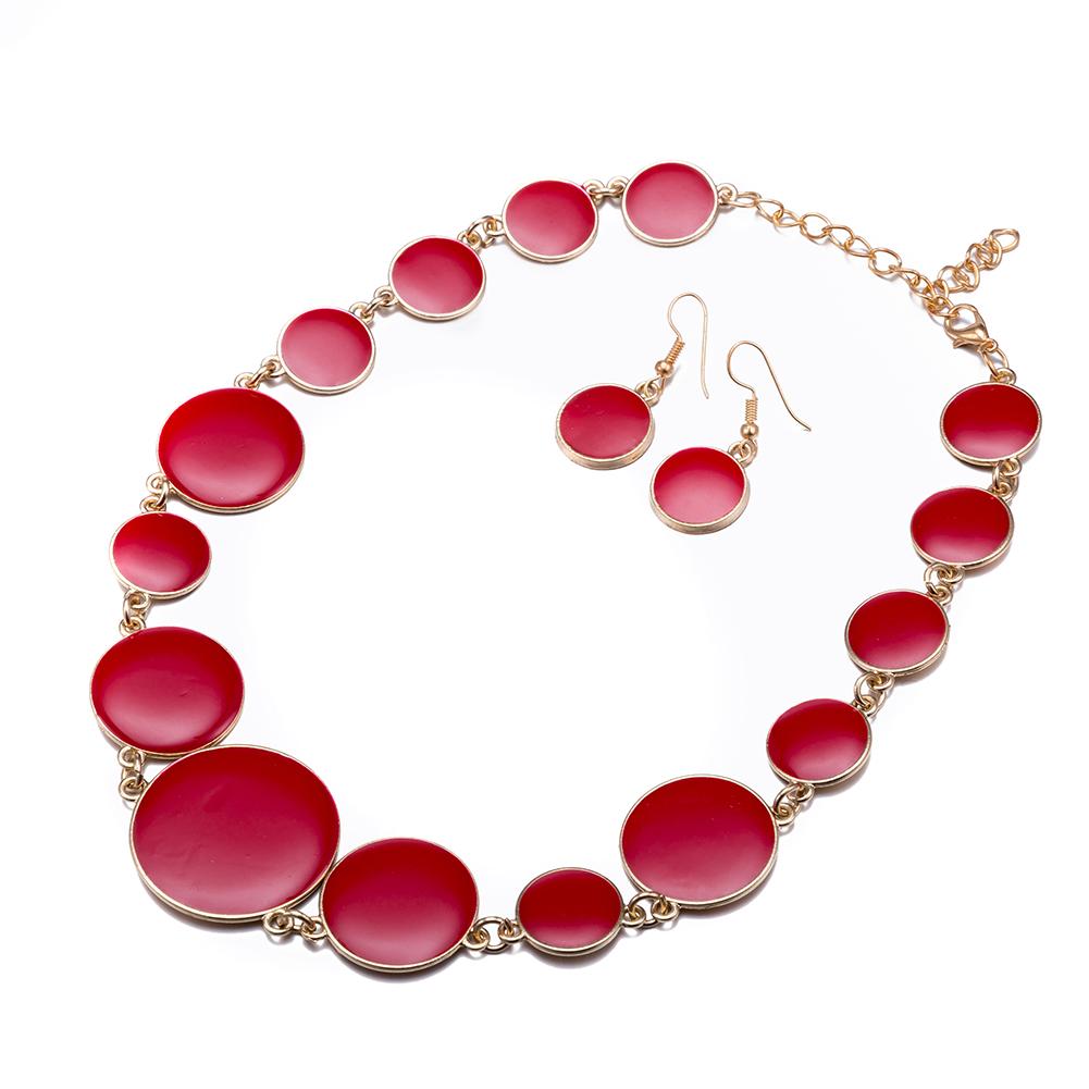 Elegant Jewelry Set Red Enamel Round Flat Shape Necklace Earrings Wholesale Women Jewelry