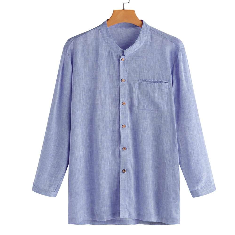 TWO-SIDED Soft Comfy Cotton Pocket Band Collar Shirts