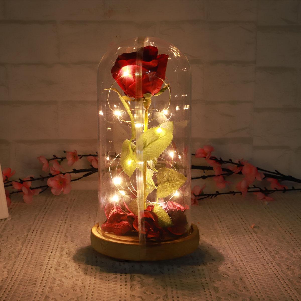Красная вечная роза Светящийся цветок Бессмертная свежая роза в стекле День матери Украшение игрушки