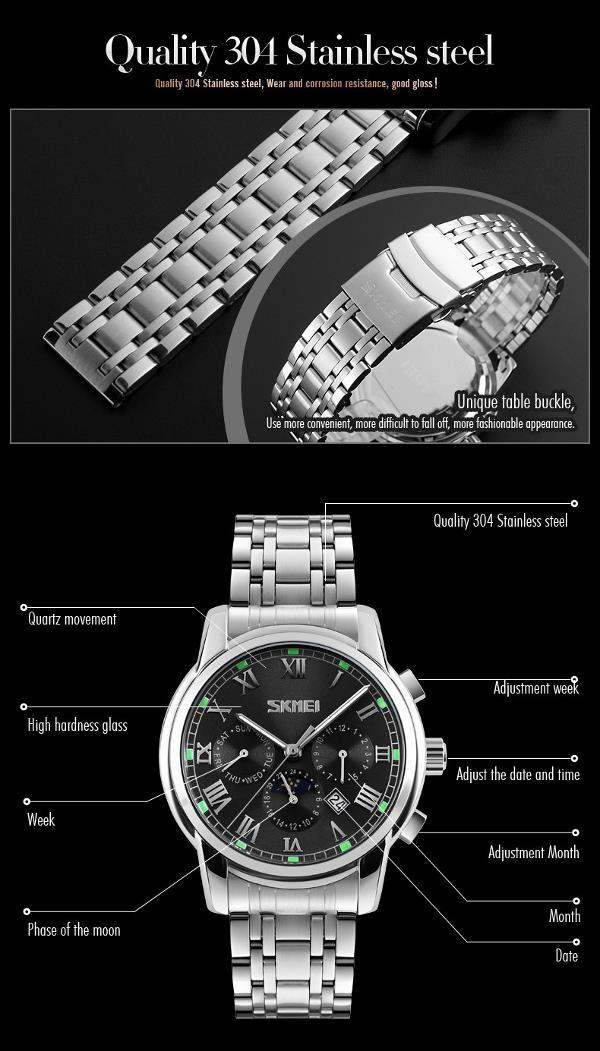 SKMEI 9121 Casual Men Quartz Watch Luxury Stainless Steel Strap Date Display Bussiness Watch