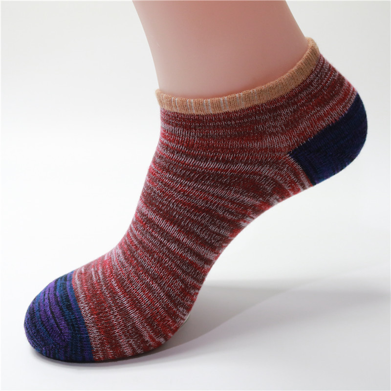1Pair Men Women Socks Cotton Line Vintage National Style Boat Short Socks