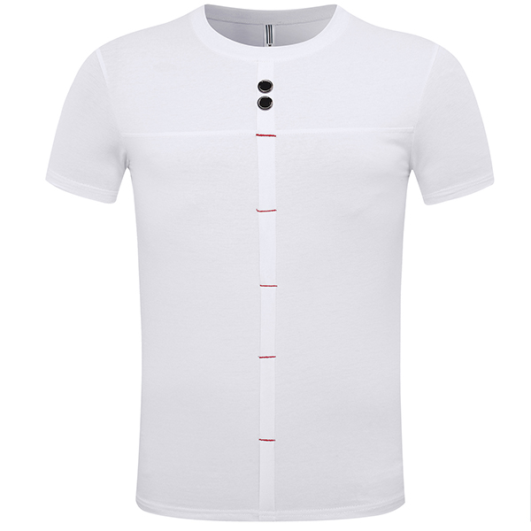 Summer Men's Fashion Stitching Button T-shirt Casual Solid Color Short Sleeve Tops