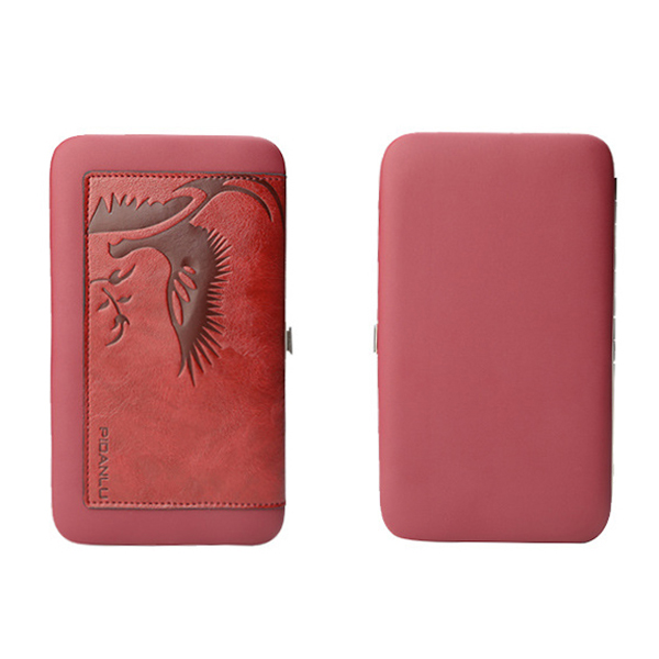 Women Embossed Long Clutch Bags 6 Card Slot Phone Bags Coin