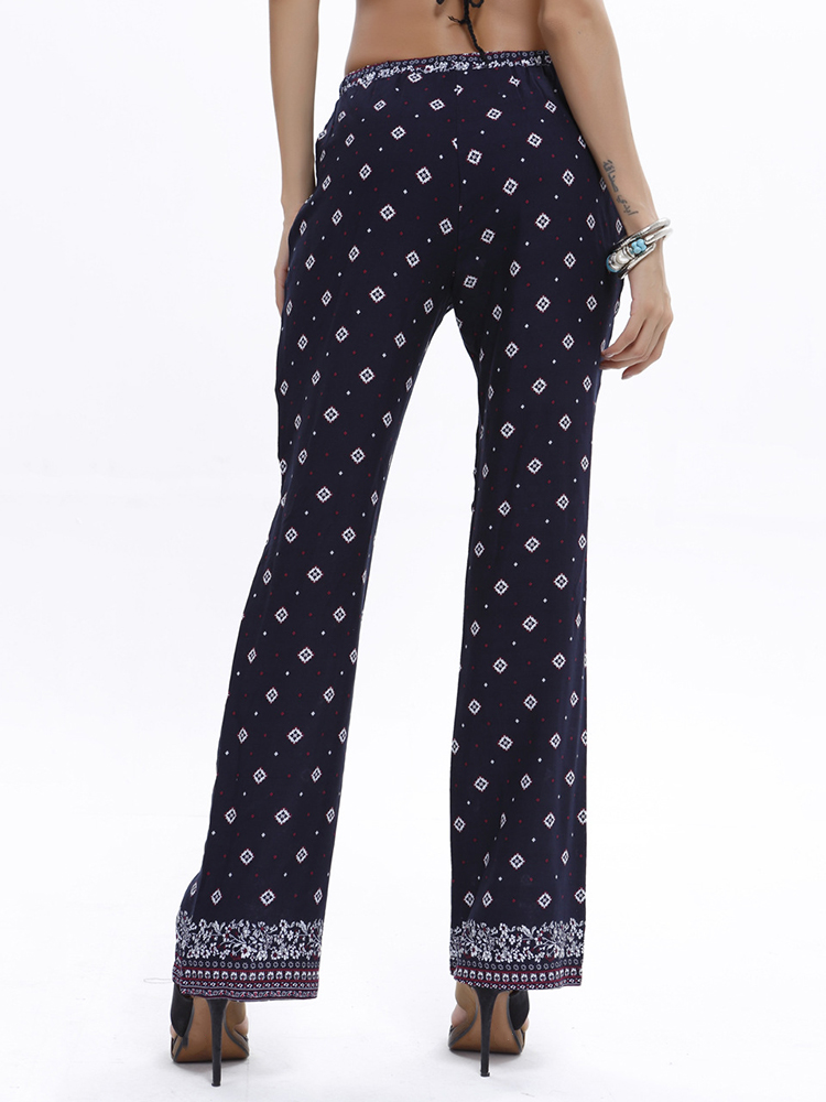 Boho Women Casual Print Elastic Waist Full Length Pants 6 Colors