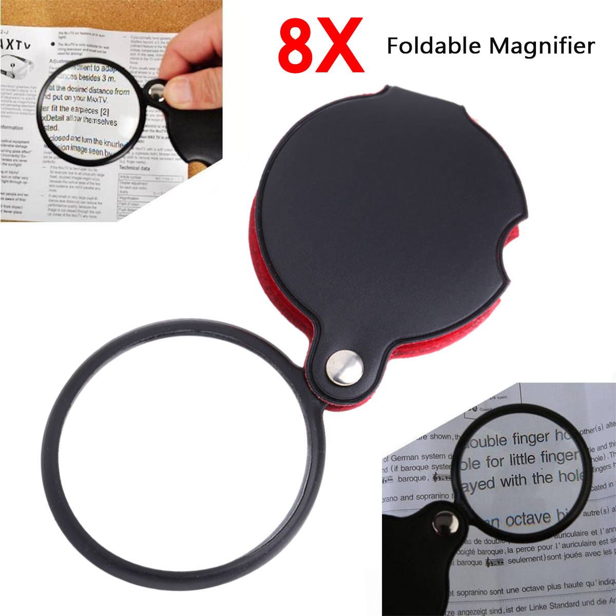 Portable Rotatable Mini Folding Glass Lens Cortical Pocket Leather Handle Magnifying Glass Magnifier