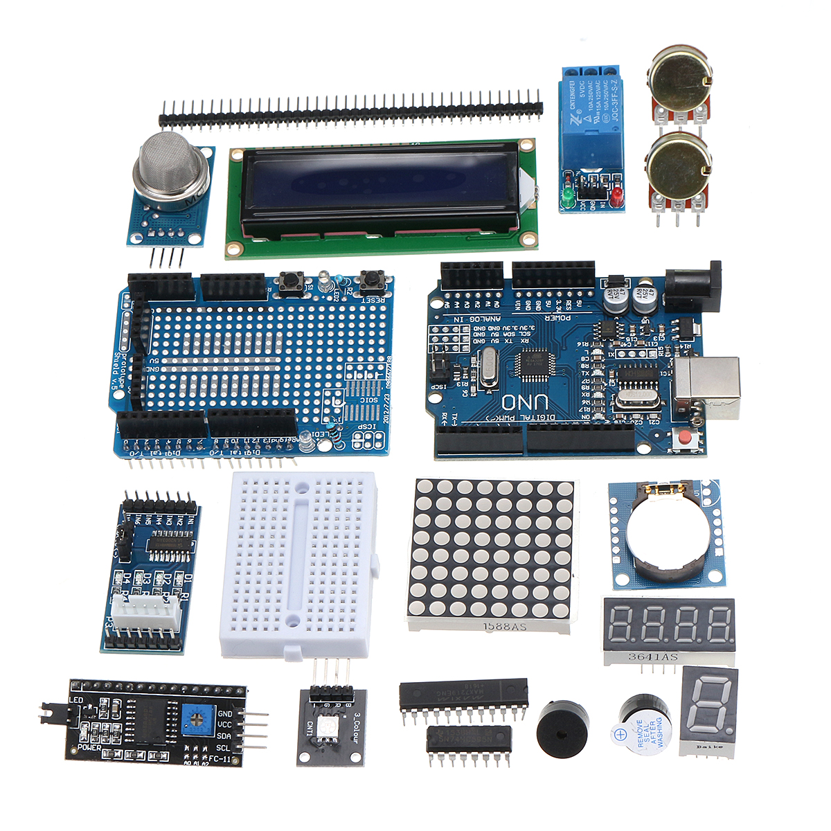 Ultimate UNO R3 LCD1602 Starter Kit With Keypad Servo Motor Gas Relay RTC Module For Arduino