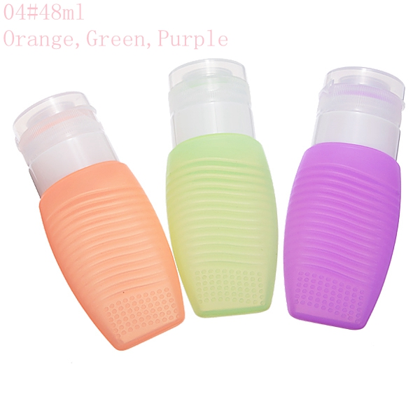 3pcs Silicone Refilliable Bottles Travel Set & Makeup Brushes Cleaner Lotion Cream Shampoo Container