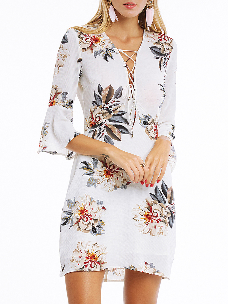 Sexy V-Neck Printed Dress