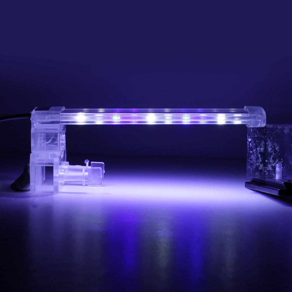 26CM Crystal LED Aquarium Light Clip on Plant Grow Fish Tank Lighting Lamp AC220V