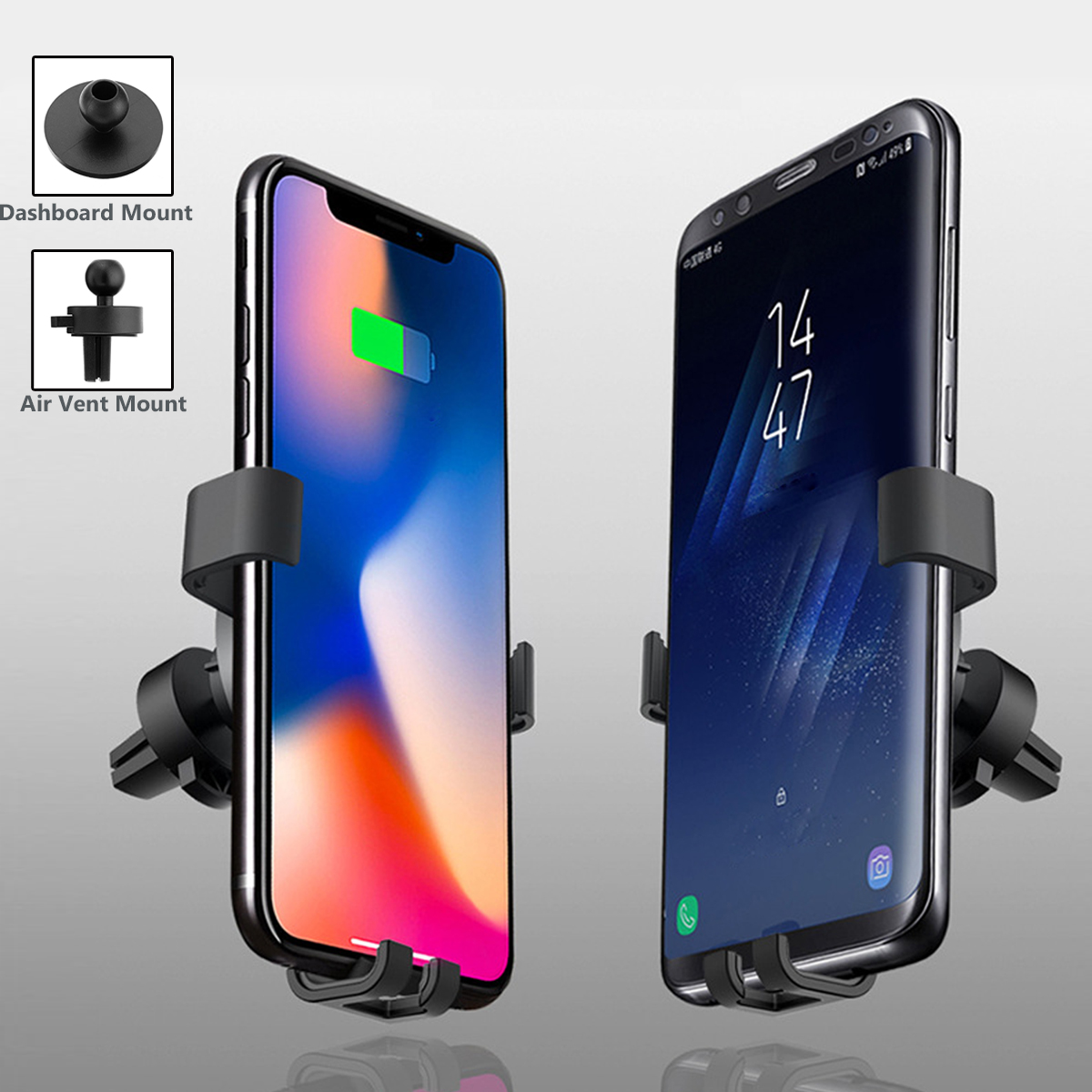 Qi Wireless Fast Car Charger 2 Mounts Holder Stand For iPhone 8/P iPhone X Samsung