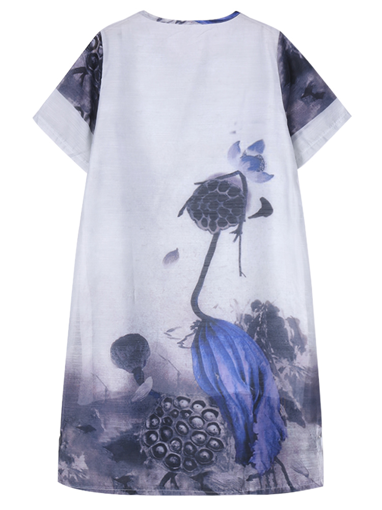 Elegant Women Short Sleeve Ink Printing Split Organza Dress