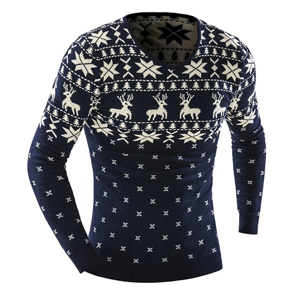 Mens Fashion Casual Deer Printing Knitted Sweater V-neck Long Sleeve Pullover