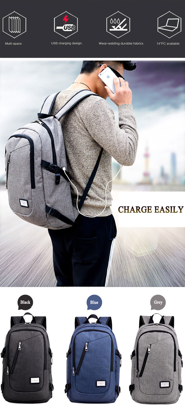 Men Multi-function Daily Rucksack 15 inch Laptop Backpack with USB Charging Port